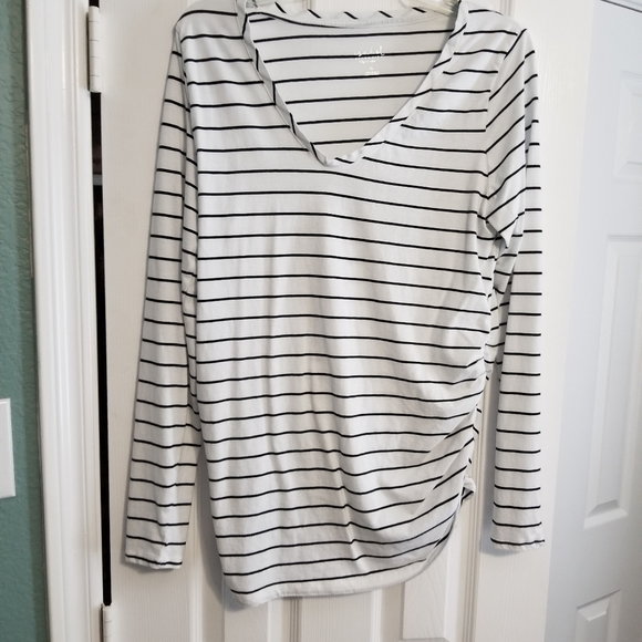 Isabel Maternity by Ingrid & Isabel Tops - Striped long sleeved maternity shirt